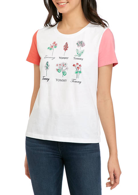 Womens Short Sleeve Cotton Botanical Graphic T-Shirt