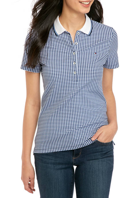 Tommy Hilfiger Womens Short Sleeve Gingham Polo Shirt