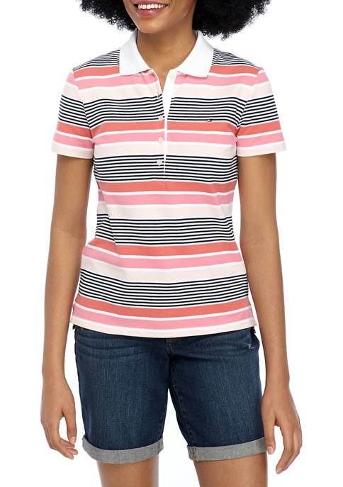 Womens 5 Button Stripe Polo Shirt