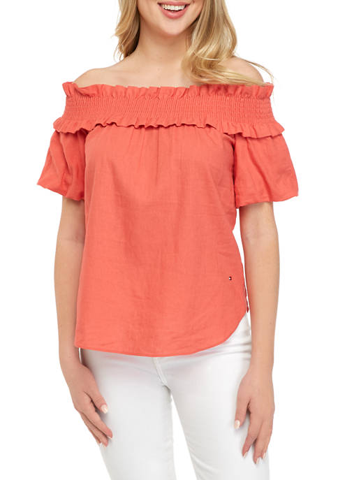 Womens Off the Shoulder Linen Top