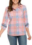 Womens Roll Tab Check Button Down Shirt