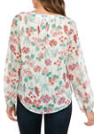 Womens Floral Pintuck Blouse