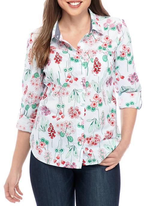 Womens Roll Tab Floral Shirt