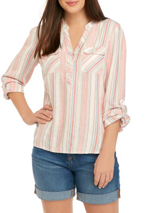 Womens Stripe Linen Shirt