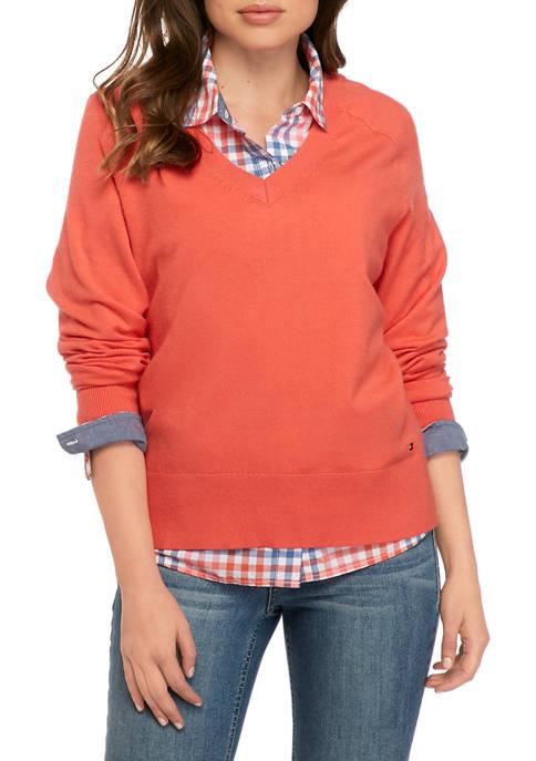 Womens V-Neck Boxy Sweater