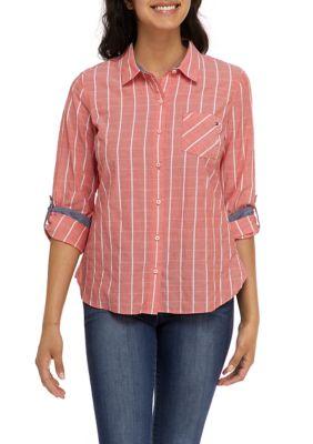 Tommy Hilfiger Womens Roll Tab Stripe Top