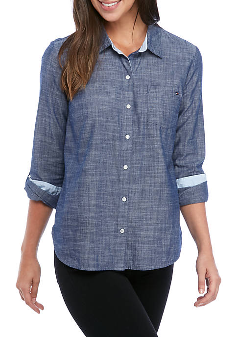 Tommy Hilfiger Womens Chambray Long Sleeve Shirt