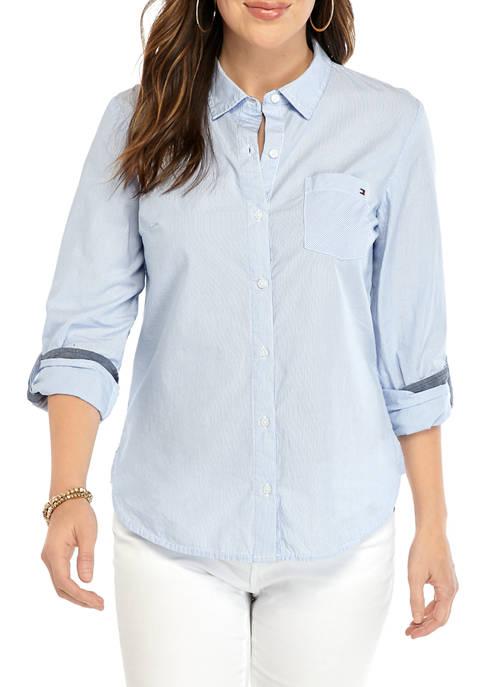 Womens Cornell Stripe Roll Tab Button Down Shirt