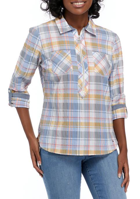 Tommy Hilfiger Popover Crinkle Plaid Shirt