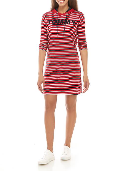 Stripe Chest Hoodie Dress