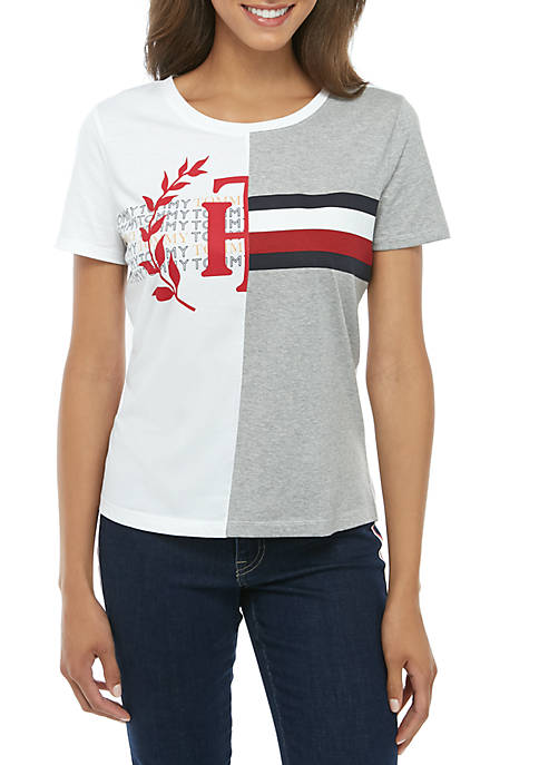 Short Sleeve Spliced Logo T-Shirt