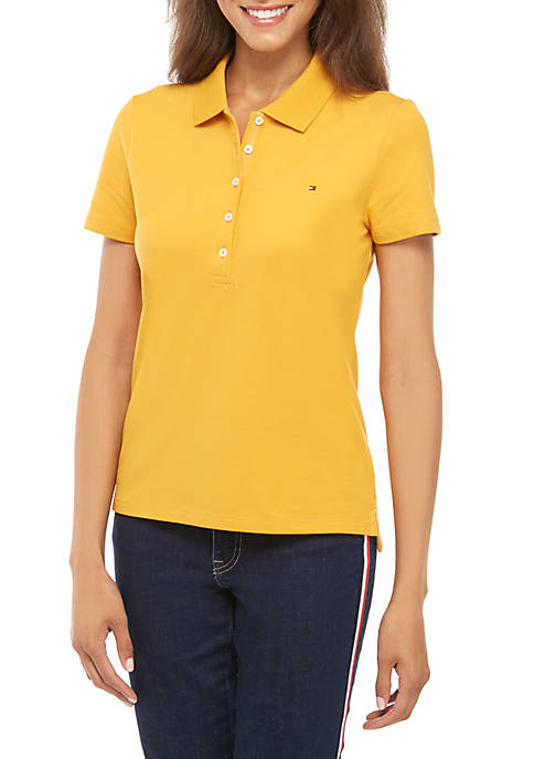 Short Sleeve Solid 5 Button Polo Shirt