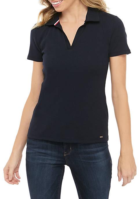 Short Sleeve Ribbed Polo Shirt