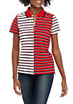 Short Sleeve Mixed Stripe Zip Polo Shirt
