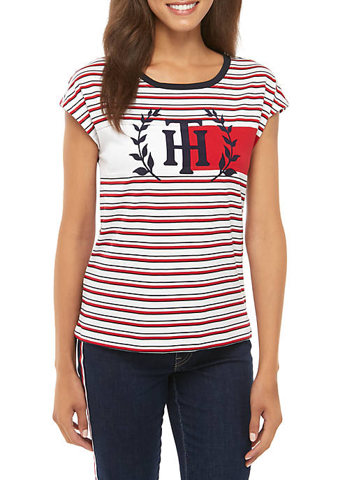 Striped T-Shirt with Flag and Crest