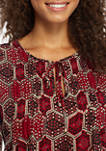 Womens Long Sleeve Pin Tuck Honeycomb Blouse