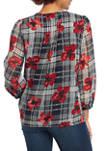 Womens Long Sleeve Pin Tuck Universal Flower Blouse