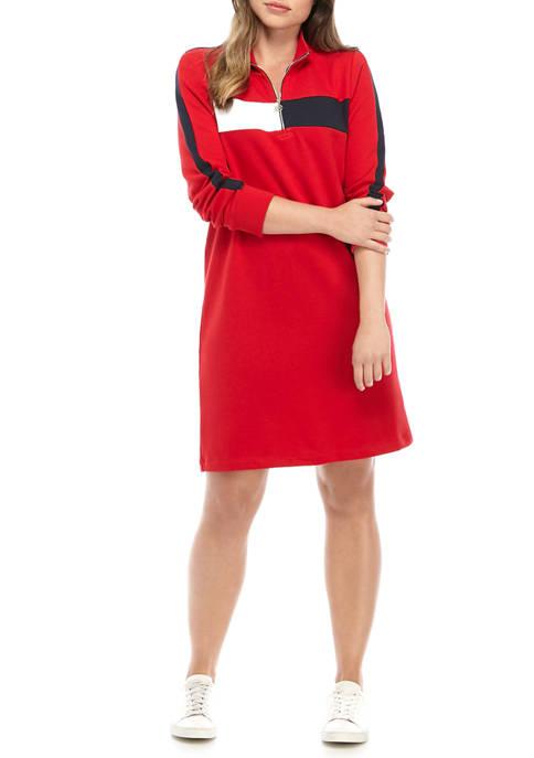 Womens 1/2 Zip Mock Neck Dress