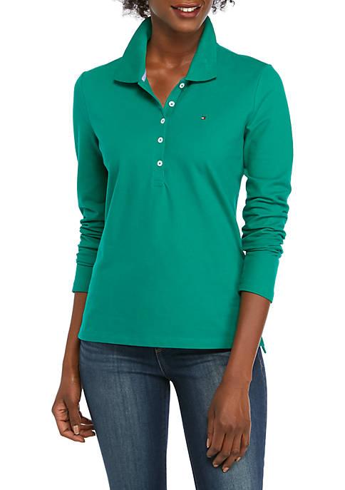 Womens Long Sleeve 5 Button Polo