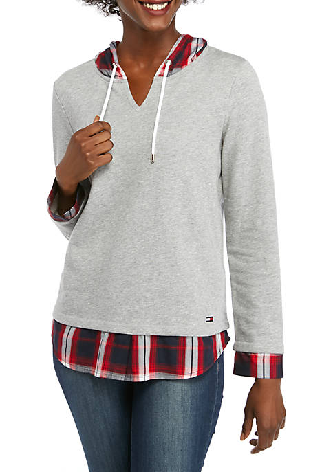 Womens 2Fer Sweatshirt with Plaid