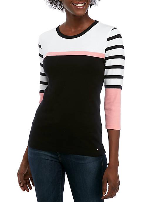 Womens Long Sleeve Multi Stripe Top