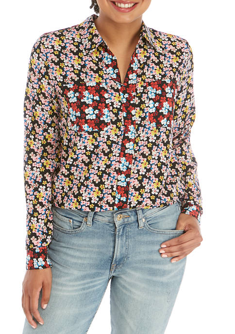 Womens Floral Popover Shirt