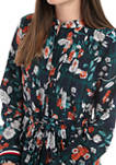 Womens Collared Pleated Floral Dress