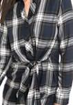 Womens Tie Front Plaid Shirt Dress