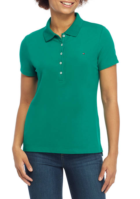 Womens 5 Button Solid Polo Shirt