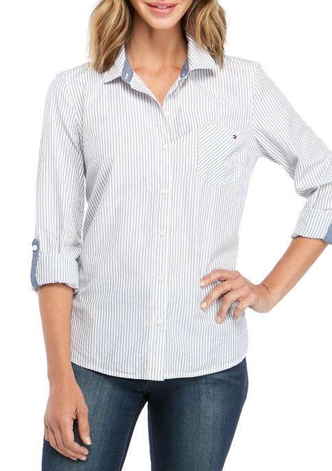 Womens Roll Tab Sparkle Stripe Top