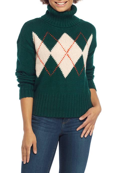 Womens Argyle Turtleneck Sweater
