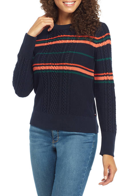 Womens Stripe Cable Sweater
