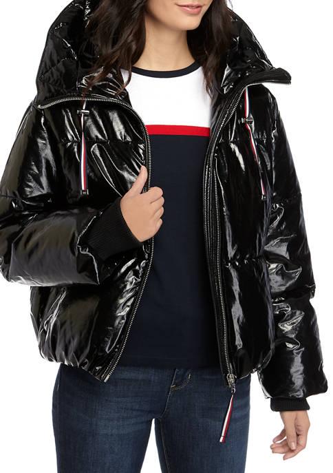 Womens Shiny Puffer Jacket