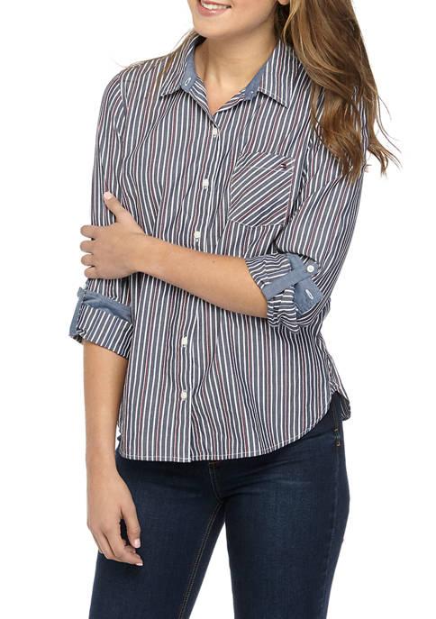 Womens Roll Tab Stripe Shirt