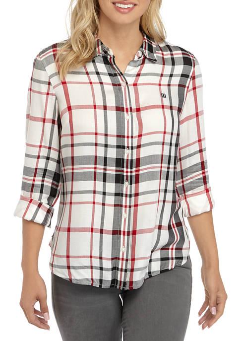 Tommy Hilfiger Womens Roll Tab Plaid Shirt