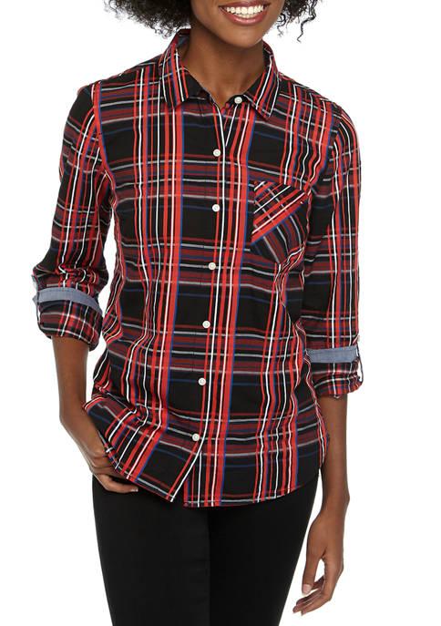 Tommy Hilfiger Womens Roll Tab Festive Plaid Shirt