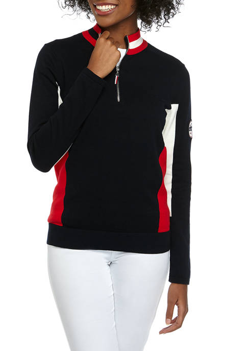 Womens Side Flag Zip Mock Neck Sweater