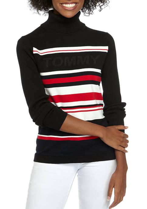 Womens Striped Turtleneck Sweater