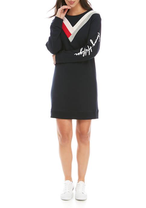 Womens Long Sleeve Chevron Sweatshirt Dress