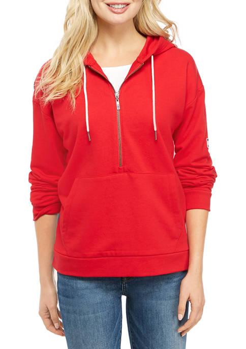 Womens Denim Back Hoodie Sweatshirt