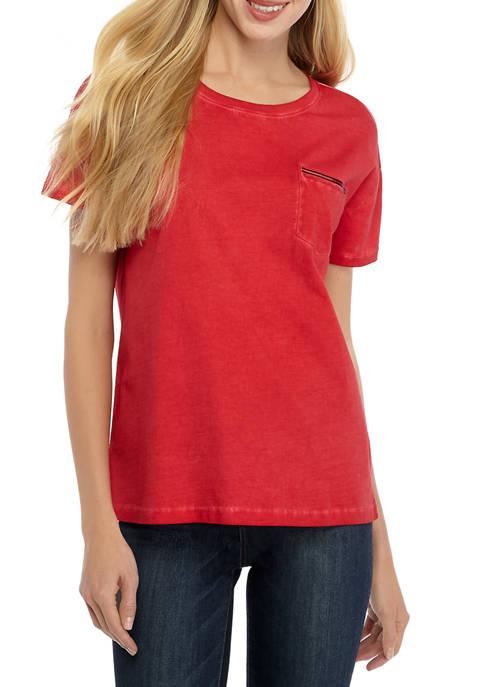 Womens Garment Dyed Pocket T-Shirt