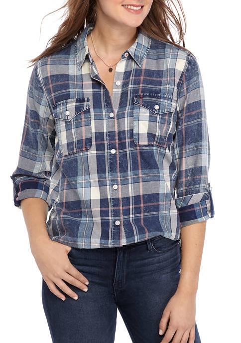 Womens Plaid Polished Roll Tab Shirt