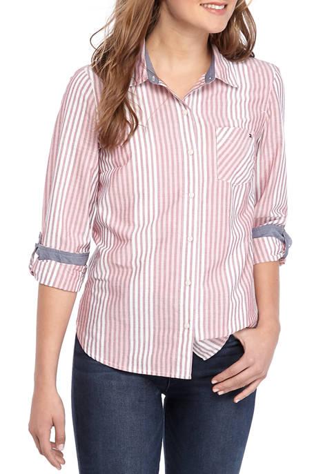 Womens Roll Tab Slope Stripe Shirt