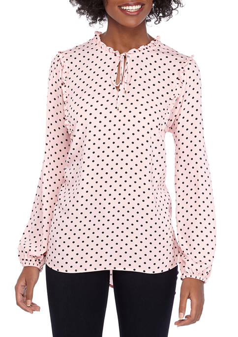 Womens Ruffle Neck Dot Blouse