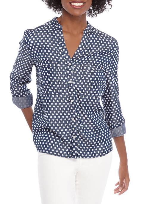 Womens Split Neck Dot Shirt