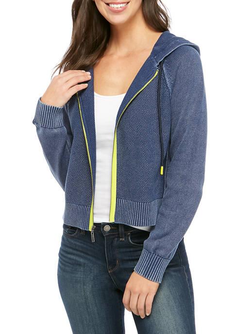 Womens Washed Crop Hoodie Zip Sweater