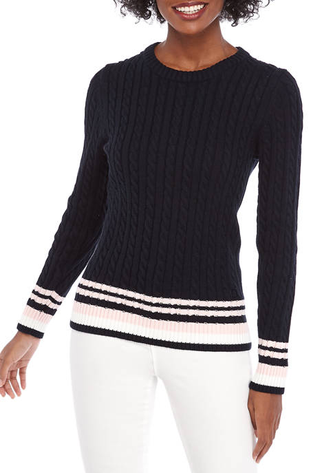 Womens Tipped Cable Sweater