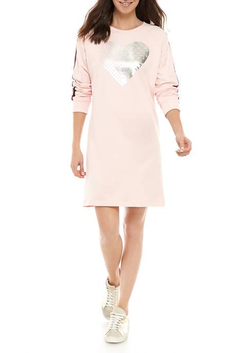 Womens Dot Heart Graphic Sweatshirt Dress