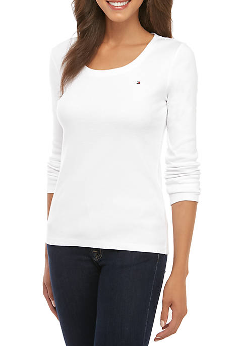 Long Sleeve Solid Scoop Neck T-Shirt