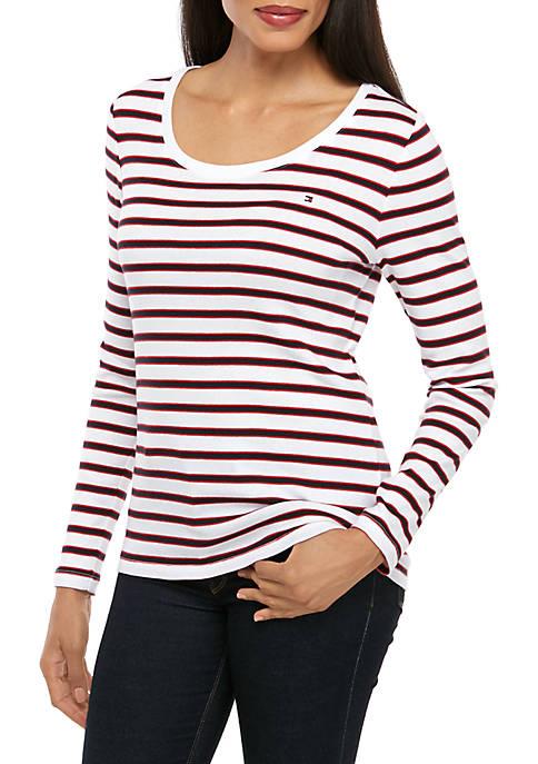 Long Sleeve Stripe Flag T-Shirt